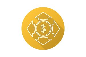 Money spending flat linear long shadow icon