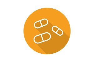 Medicine pills flat linear long shadow icon