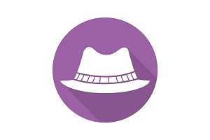 Homburg hat flat design long shadow icon