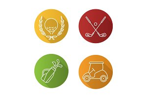 Golf championship flat linear long shadow icons set