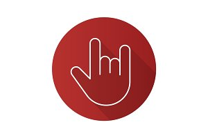 Heavy metal gesture. Flat linear long shadow icon