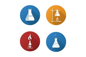 School chemistry lab equipment. Flat design long shadow icons set