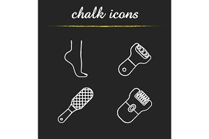 Feet care chalk icons set