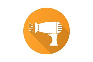 Hair dryer flat design long shadow icon