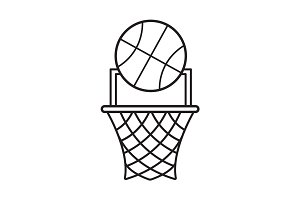 Basketball point linear icon