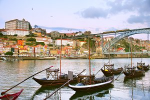 Traditional Porto wine boats