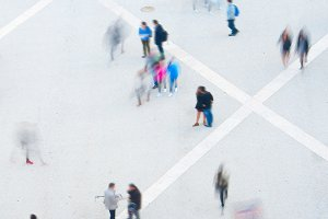 Aerial view of people in motion
