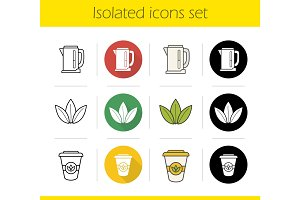 Tea icons set