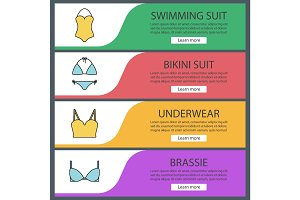 Women's underwear banner templates set
