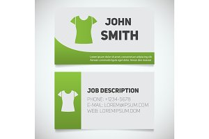 Business card print template with t-shirt logo
