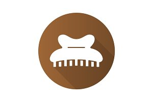 Claw hair clip flat design long shadow icon