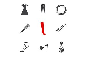 Women's accessories glyph icons set