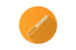 Nail file flat linear long shadow icon