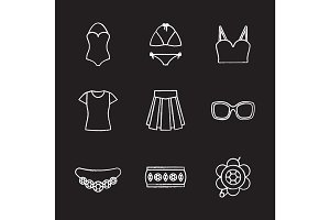 Women's accessories chalk icons set