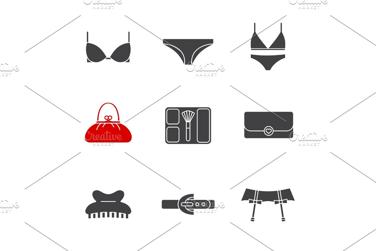 b7303d7719 Women's accessories glyph icons set ~ Icons ~ Creative Market