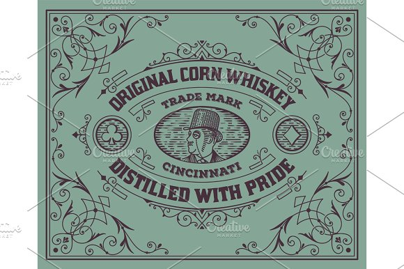 Old Label Design Western Style