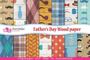 Father's Day Wood digital paper