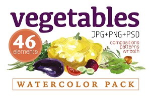46 watercolor vegetables