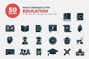 Glyph Icons School-Education Set
