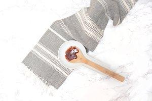 Raspberry Jam on Wooden Spoon
