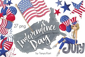 Hand-painted Independence Day July