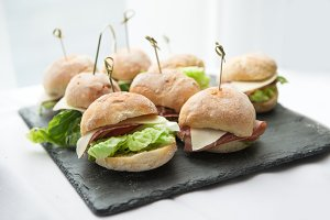 Mini sandwiches with salad, salami