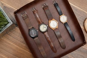 Wooden Watches in Leather Tray