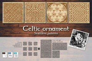 4 Celtic set of seamless  patterns