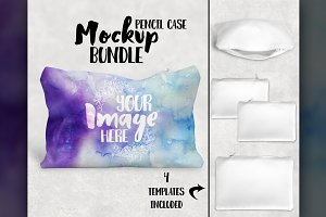 Two sided pencil case mockup