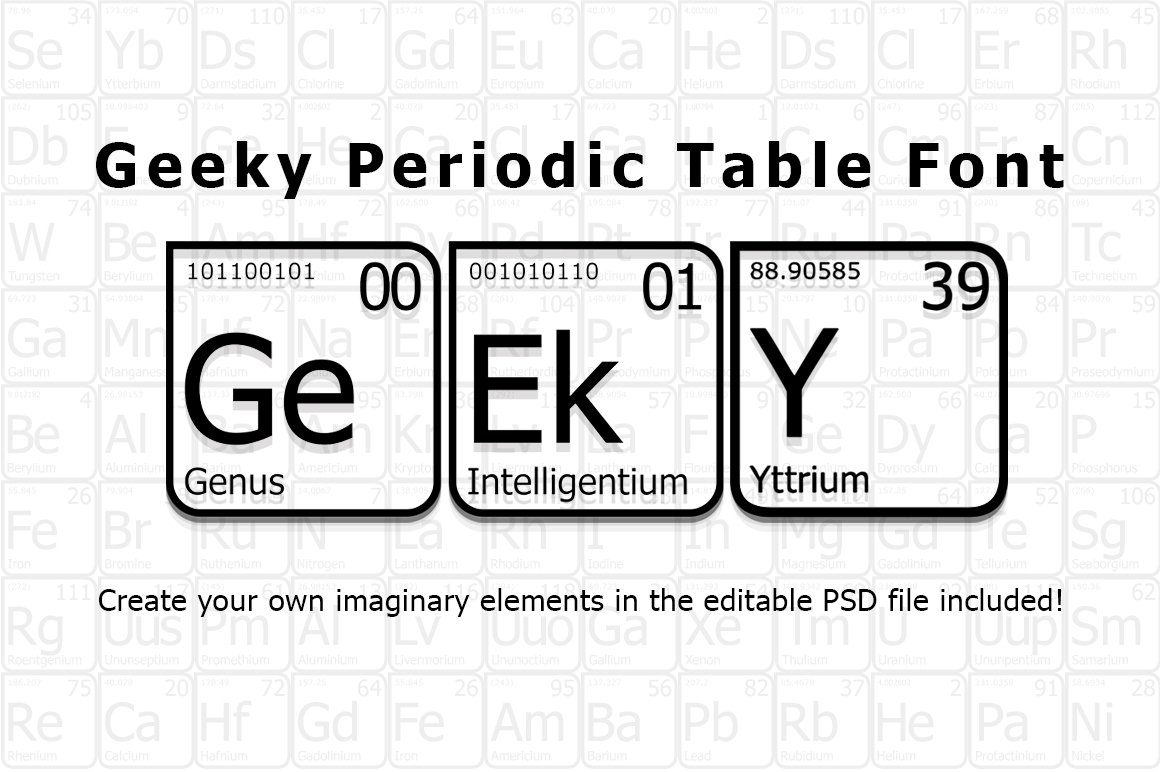Geeky periodic table font fonts creative market urtaz