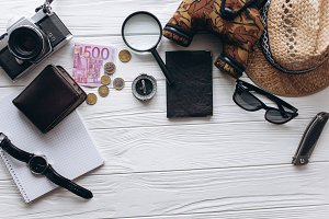 Travel concept,money,documents,hat