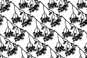 Monochrome branch seamless pattern