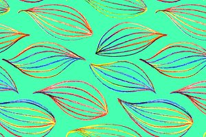 Rainbow leaf seamless pattern vector