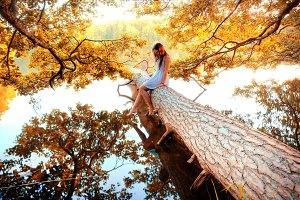 Beautiful girl and nature.