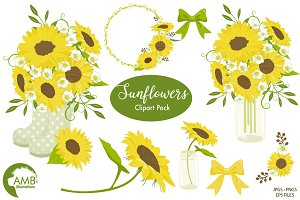 Sunflower Garden Clipart 1416