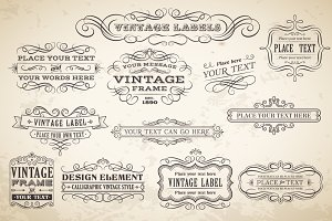Vector Calligraphic Labels & Banners