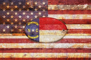 USA and North Carolina flags.