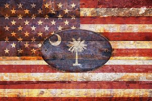 USA and South Carolina flags .