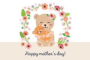 Mother's day - mama bear vector