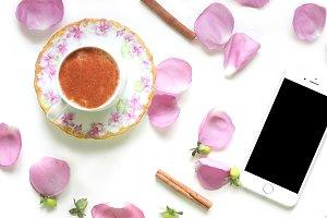 Vintage floral/flowers coffee mockup