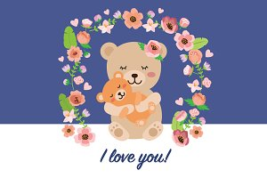 I love you! mother's day bear vector