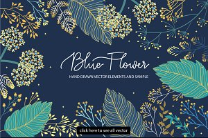 Blue and Gold Flower set