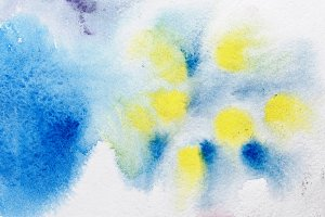 Yellow blue watercolor abstraction