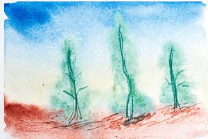 Abstract landscape with watercolor