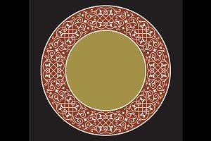Vintage Floral Circle Frame