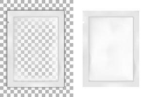 White foil or plastic sachet