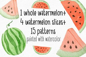 Watercolor Watermelon + Patterns