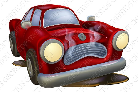 Wrecked Cartoon Car
