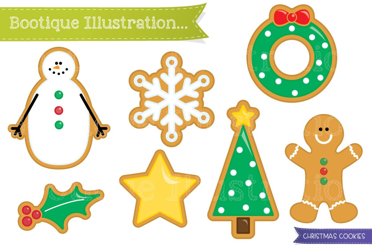 Christmas Cookies Clipart.Christmas Cookies Clipart Graphics Creative Market