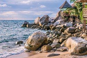 Bamboo hut over sea on Sunset, Koh Tao, Samui, Thailand